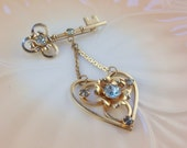 SALE!!!  12KT Gold Filled Heart and Key Brooch