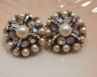 Hobe' Pearl Bead, Rhinestone and Crystal Earrings