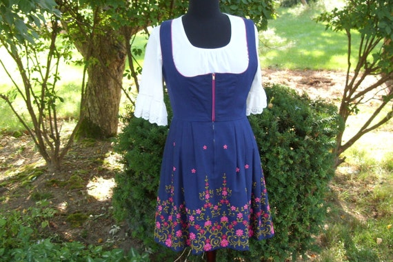 Blue Dirndl Dress with Bight Pink and Olive Embroidery German Made Size 42