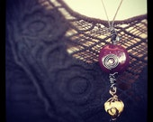 Purple Seed and Crystal Dangle Pendant