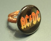 Wrapped Copper Wire Badge Ring ACDC Size 7