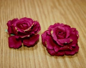 Glitter Tipped Wine Paper Rose Hair Clips