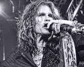 Steven Tyler Sings Fine Art Entertainment Print  8 x 10 inches and up black and white Aerosmith concert singer icon idol rock star