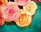 Apple Roses 4 Fine Art Print 8 x10 inches pink orange cornflower blue bucket bouquet shabby chic