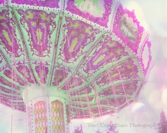 Whimsy Swing 8 x 10 inch Fine Art Photo pink purple fair ride girls decor shabby chic carnival bokeh soft