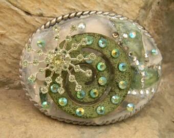 Sea Glass Belt Buckle, Mosaic Genuine Pacific Beach Glass Green White Swarovski Crystal, Genuine Sea Glass Mosaic Buckle, Wind Chime Part