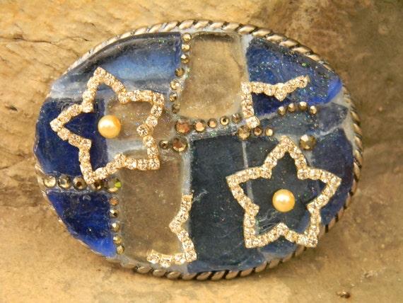 Mosaic Sea Glass Belt Buckle, Mosaic Art Blue Sea Glass, Custom Belt Buckle, Sea Glass Art,  Blue and White Beach Glass Rhinestone Star