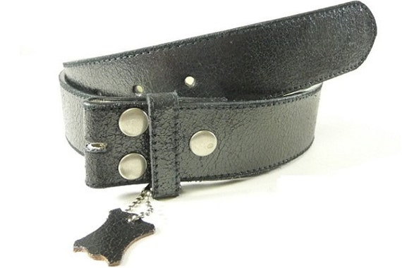 Black Leather Belt Strap For Belt Buckle Distressed Snap Mens and Womens