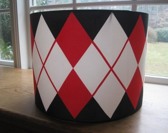Lamp Shade Drum Lampshade made with Vintage Vera Neumann Argyle - READY TO SHIP