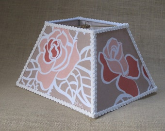 Lamp Shade Rectangle Lampshade made with Vintage Vera Neumann Roses Flower Floral - READY TO SHIP