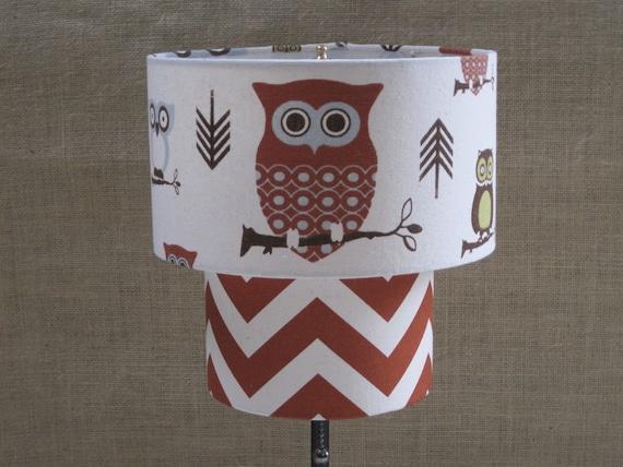 Lamp Shade Drum Lampshade 2 Tier Woodland Hooty Owl Chevron