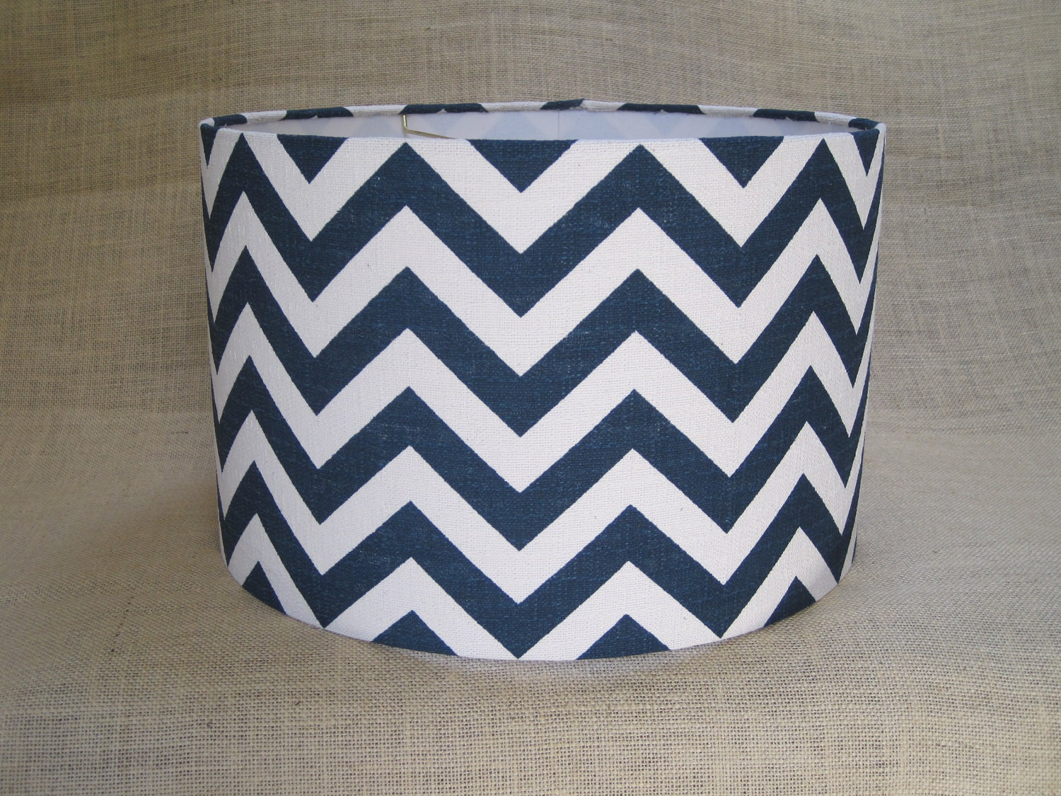 lamp shade drum lampshade pendant navy zigzag by. Black Bedroom Furniture Sets. Home Design Ideas
