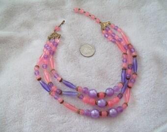 Vtg Necklace-Pink Purple 3 Strand Beaded Necklace