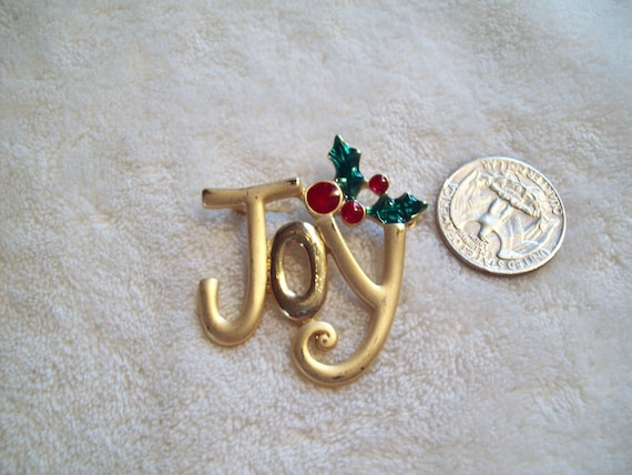 Vtg Christmas Pin-JOY-X202-Only 2 Dollars-WOW