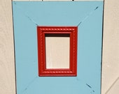 distressed picture frame blue and red 5x7 available in any size or colors