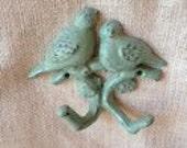 Key hook coat hanger rack distressed love birds sitting on a branch turquoise