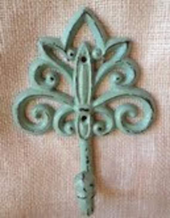 Key hook coat hanger rack shabby chic distressed organizer fleur de lis turquoise robins egg blue