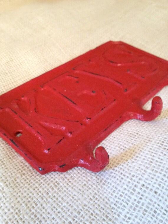 key hook rack retro vintage hanger cast iron cherry red