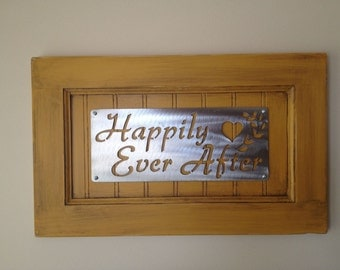 Happily Ever After Cabinet Door Sign with Metal Plate Lettering