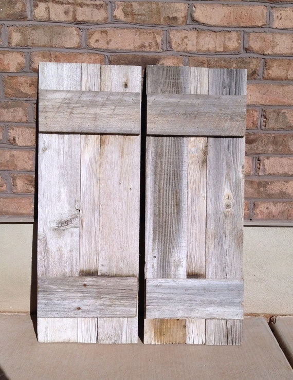 2 reclaimed barnwood shutters 13 x 36 for Barnwood shutters