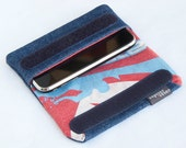 Protective iPhone 3G, 4, 4S case made from recycled fabrics - DENIM with SURFER design