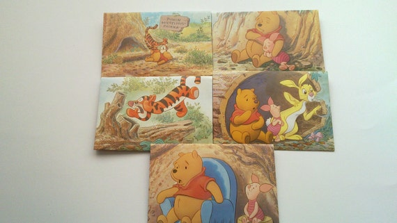 Set of 5 recycled envelopes from Winnie the Pooh book. Tigger. Rabbit. Unique envelopes.