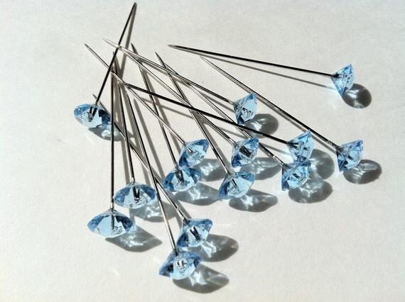 15  Light Blue Diamante Floral Corsage Pins