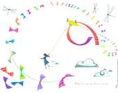 kids wall decals : the kite - kids wall art - children stickers - illustration for kids