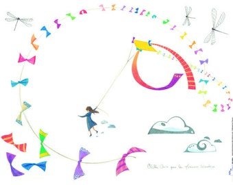kids wall decals : the kite - kids wall art - children stickers - illustration for kids