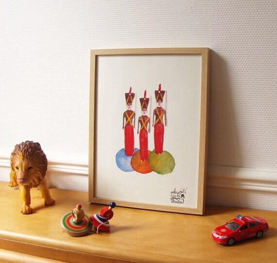 Children's poster : Little tin soldiers - kids wall art - kid poster - boys poster - art for kids