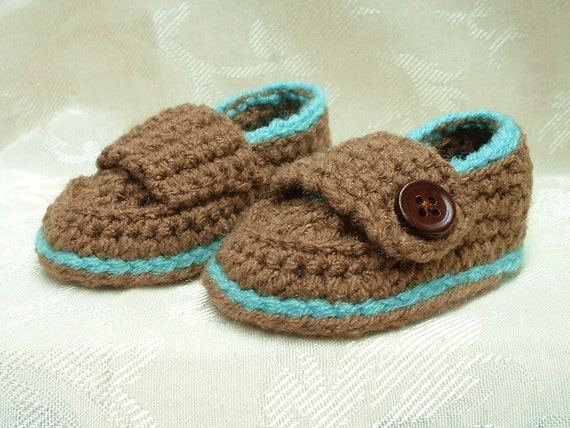 Baby Boy Latte Brown Loafers with Capri Blue Trim - CLEARANCE