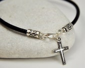 Black Leather Men's Bracelet With Cross Charm, Sterling Silver, Religious Jewelry, Christian Jewelry, Unisex Bracelet
