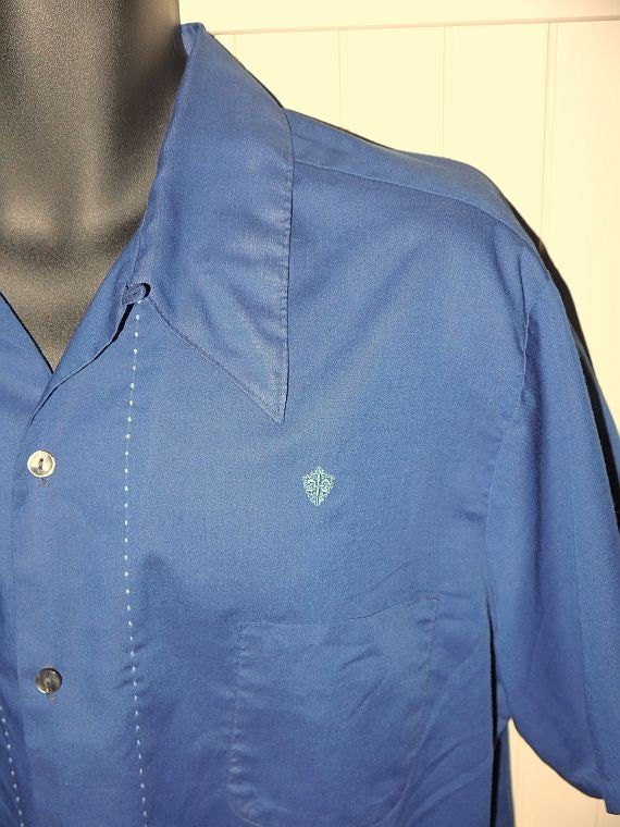 Vintage 60s Loop Top Shirt Navy Blue Button Up Camp