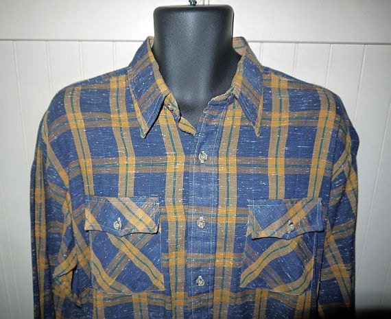 Vintage 70s Campus flecked plaid shirt  // rockabilly  / western country  / button up  ...  XL 17 17.5 / chest 50