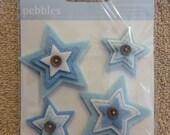 SALE / CLEARANCE Pebbles Layered Felt Embellishments - Self-Adhesive, Baby Boy, Stars
