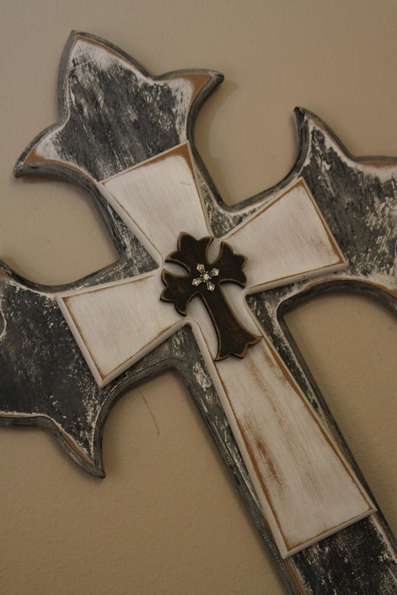 Antique white and black stacked cross