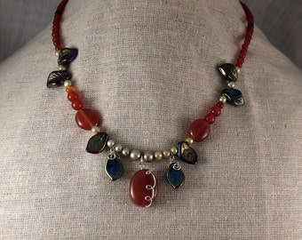 Carnelian, Leaves, Pearls, and Silver