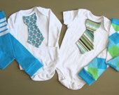 Baby boy tie onesie/bodysuit and leg warmer set, blue, green. gray, short or long sleeves, spring, Baby boy fashion