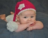 Baby Girl crochet Santa hat with snowflake and pompom, fuchsia, white, Christmas, Holiday, Winter, Photo Prop, you choose color
