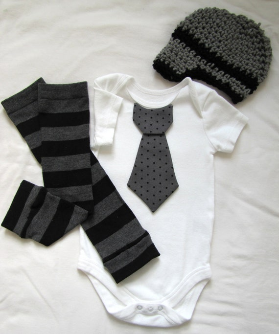 Baby boy tie onesie/body suit, leg warmer and crochet hat set, gray and black, stripes and polka dots, photo prop, Baby Fashion