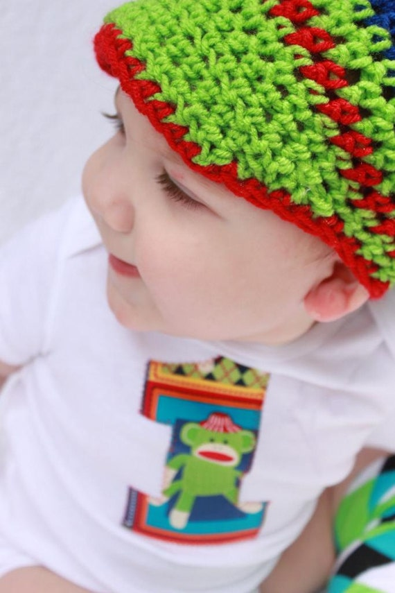 Baby boy 1st Birthday outfit one piece bodysuit and crochet hat set, sock monkey, photo prop
