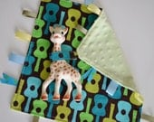 SALE: Ribbon Lovey with corner strap - Groovy Guitar in Lime by Michael Miller