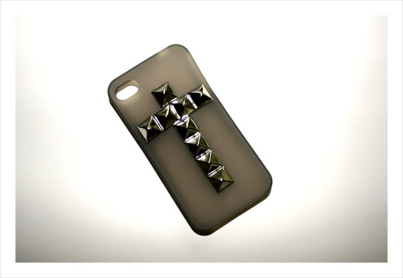 GRAY studded cross grey sheer silver iPhone 4 4S case silicone semi transparent clear