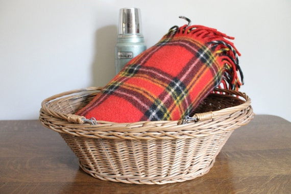 Plaid Picnic Blanket, Red Plaid Throw, Pendleton, Picnic, Summer, Camping, Cabin, Rustic