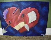 """Original Acrylic Painting, """"Remnants of a Broken Heart"""", 12 x 16"""" on Flat Canvas Board, No Frame, Heart Picture, Love Artwork"""