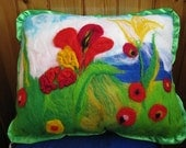 "Gift and decorative felt pillow ""Forest glade"""