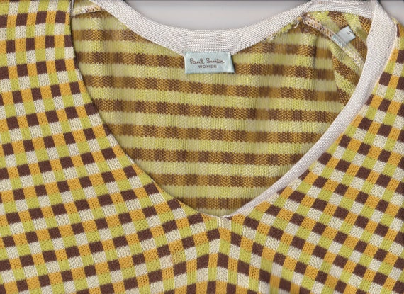 Classic PAUL SMITH (London) yellow green, white and tan checkered V-neck pullover sweater : US size small /8