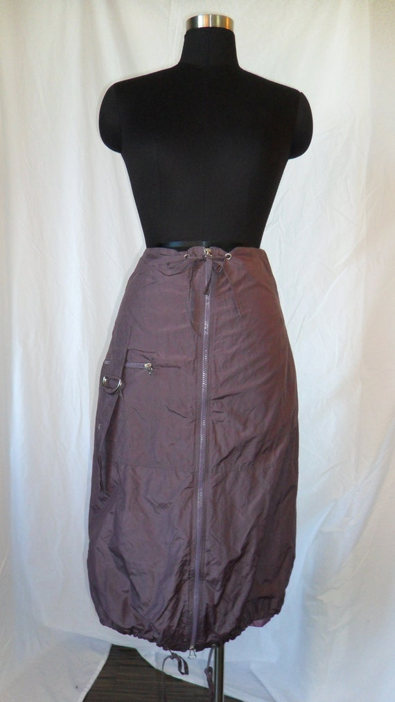 ANIMALE 90s eggplant purple parachute/military nylon bubble skirt- size Fr 2 /US 8-10