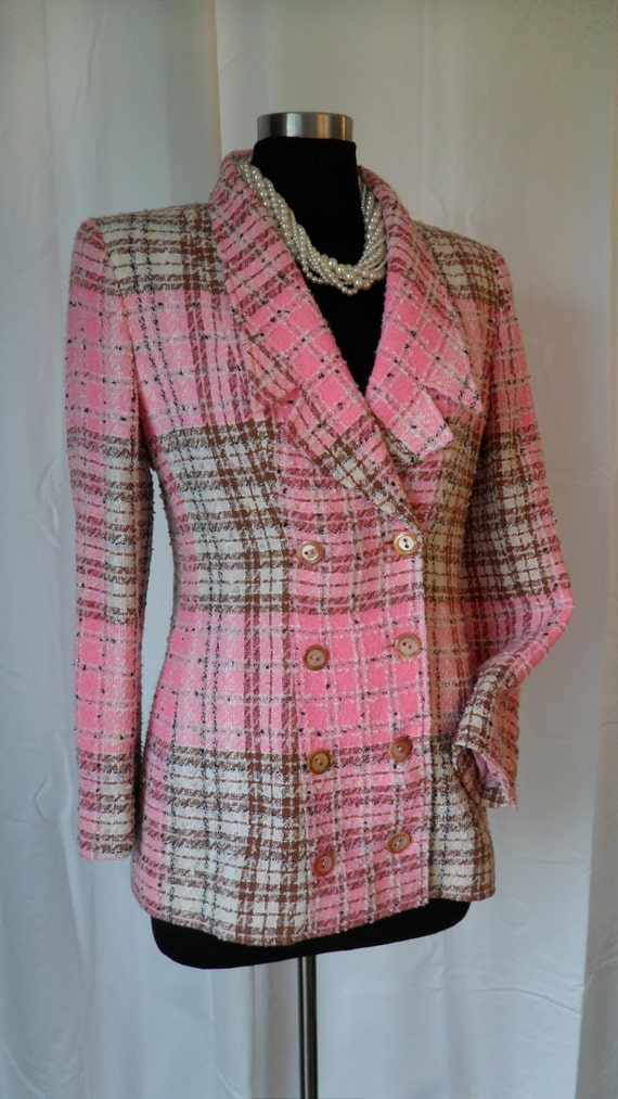 80s vintage EMANUEL UNGARO Parallele'- Paris (Made in Italy) boucle' cottton candy pink and brown double breasted jacket : US 10