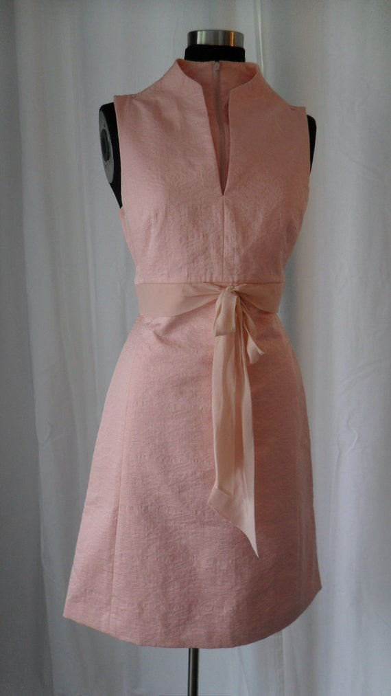 RESERVED___Pretty in PINK- vintage 80s PORTS  sleeveless petal pink silk chiffon & Matelassé cotton empire waist shift dress:US size 4